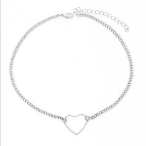 Silver heart plated choker necklace